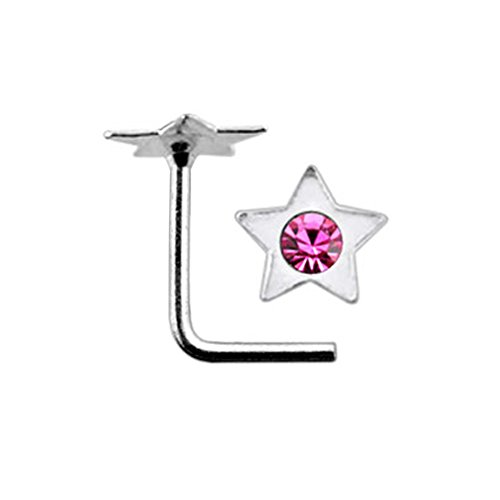Pink Jeweled Flat Star Top 22 Gauge Silver L Shape - L Bend Nose Stud Nose Pin ()