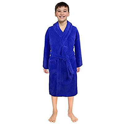 iZHH Toddler Boys Girls Solid Flannel Bathrobes Simple Towel Night-Gown Pajamas Sleepwear