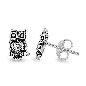 Sterling Silver Owl Stud Earrings - 8mm
