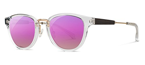 Shwood - Ainsworth Acetate, Sustainability Meets Style (Crystal/Gold, Rose Flash Polarized Lenses) by Shwood