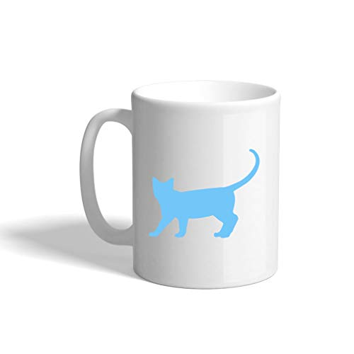Light Blue Burmese Cat Silhouette Ceramic Coffee Cup White Mug