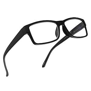 Rectangular 3 in 1 Prescription Reading Glasses Spring Hinge Classic Frame Progressive Magnification Strength Readers (Black Frame, 1.75)
