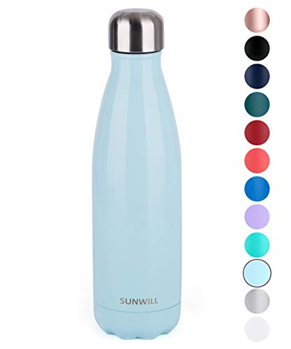 SUNWILL Insulated Stainless Steel Water Bottle Pearl Blue, Vacuum Double Wall Sports Water Bottle 17oz, Cola Shape Travel Thermal Flask