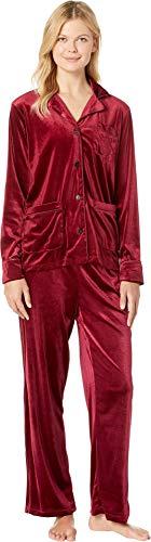 Lauren Ralph Lauren Women's Velvet Long Sleeve Notch Collar Pajama Set Red Large