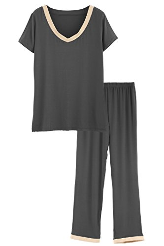 (Latuza Women's V-Neck Sleepwear Short Sleeves Top with Pants Pajama Set 2X)