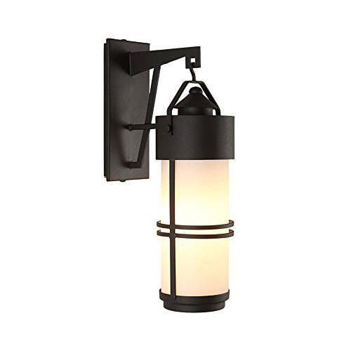 Retro Outdoor Waterproof Black Iron Wall Lamp Creative Aisle Corridor Outdoor Balcony Glass Wall Light