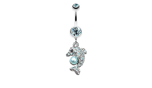 WildKlass Jewelry Double Dice Iced 316L Surgical Steel Belly Button Ring