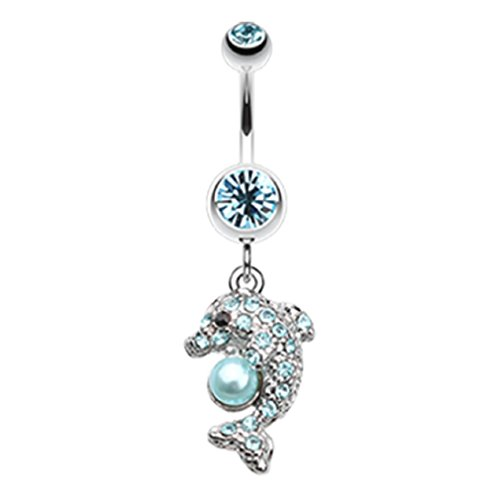 Sparkling Dolphin 316L Surgical Steel Freedom Fashion Belly Button Ring (Sold Individually) (14GA, 3/8