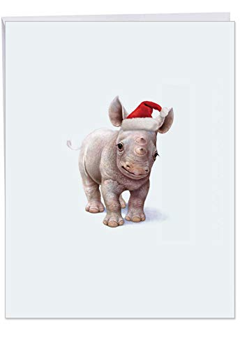 Big 'Christmas Zoo Babies' Merry Christmas Greeting Card - Featuring a Sweet and Adorable Baby Rhino Wearing a Christmas Hat With Envelope 8.5 x 11 Inch - Happy Holidays! J6726IXSG]()