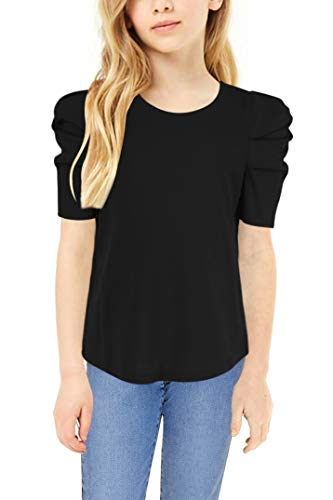 GORLYA Girl's Puff Sleeve Casual Solid T-Shirt Pullover Keyhole Back Blouse Tops for 4-14 Years 1