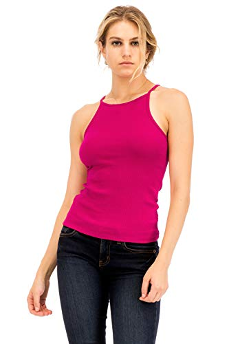 (NANAVA Basic Ribbed High Neck Racerback Camisole Top Fuchsia Size S)
