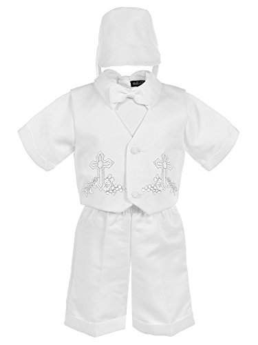 2 Piece Embroidered Tie - Bello Giovane Baby Boys White Baptism Cross Embroidered Christening 4 Piece Set (X-Small (0-3 Months), White)