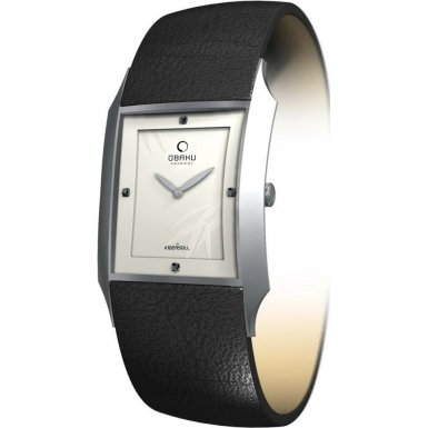 Obaku Women's V107LCIRB Black Leather Quartz Watch with White Dial
