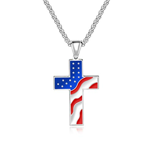 - Oidea Stainless Steel American Flag Patriotic Cross Pendant Necklace,Silver