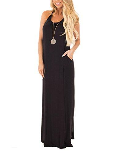 InStylish Women Sleeveless Loose Plain Maxi Tank Dress with T Strap Open Back Detail