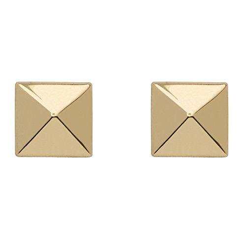 14k Gold Pierced Earrings - 14k Yellow Gold Pyramid Stud Earrings
