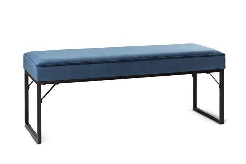 LIFA LIVING Taburete de pie de Cama, Banco de Interior de Acolchado y tapizado, Forrado en Terciopelo, Dimensiones 120 x 40 x 45 cm (Azul)