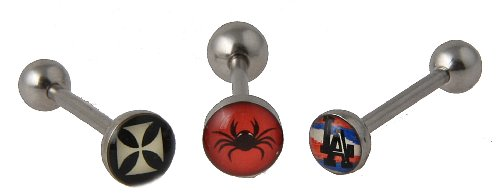 Set of 3 14 g Surgical Steel Lead and Nickle free Barbell Tongue Ring with Logo Cross, Spider, Black Widow, LA ()