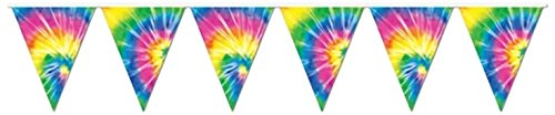 Tie-Dyed Pennant Banner Party Accessory (1 count) (1/Pkg) ()