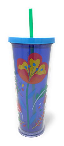 Starbucks Venti Acrylic 24oz Insulated Cold Cup Tumbler for Summer and Fall, Flower and Leaves Design, Gift for Halloween and your favorite Coffee or Pumpkin Spice Latte