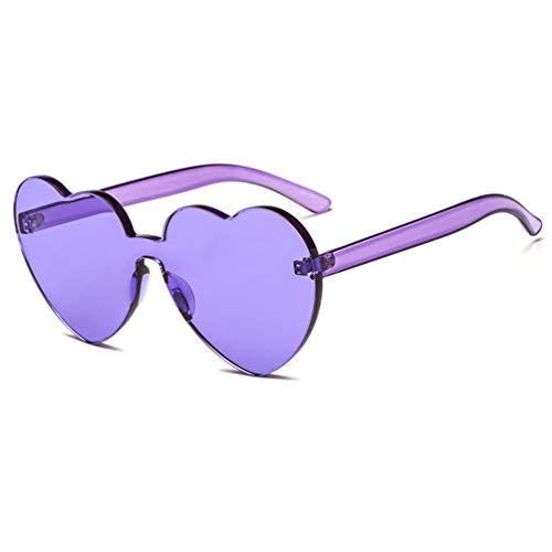 (Armear One Piece Heart Shaped Rimless Tinted Sunglasses Transparent Colored Lens Purple, 65)