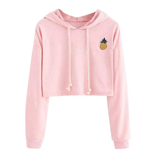 AMSKY Clearance Women Teen Girls Cute Pineapple Appliques Long Sleeve Hoodies Pullover Crop Top Sweatshirt Blouse Top (XL, Pink)