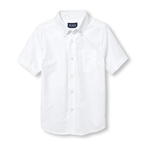 The Children's Place Big Boys' Short Sleeve Uniform Oxford Shirt, White 4765, X-Large/14
