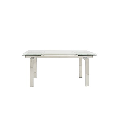 Eurø Style Theodore Glass Top Extension Table with Polished Stainless Steel - Theodore Glasses