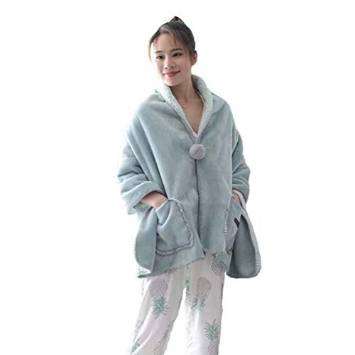 Prettywan Multi-Function Cloak Wearable Plush Hooded Angel Throw Wrap Blanket