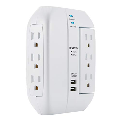 - BESTTEN 6 Outlet Swivel Surge Protector, 1350 Joules, Dual USB Charging Ports, ETL Certified, White