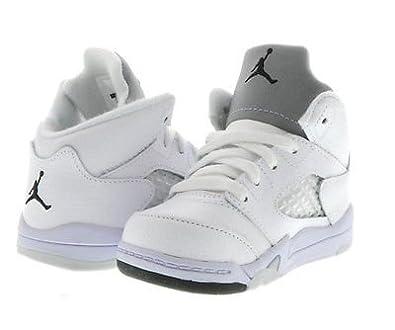 official photos 807f5 a3919 Amazon.com: Nike Air Jordan 5 Retro, Toddlers, WHITE/BLACK ...