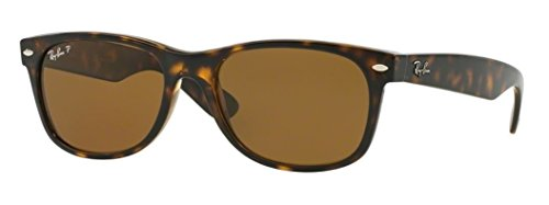 (Ray-Ban RB2132 New Wayfarer Polarized Sunglasses, Striped Tortoise/Polarized Crystal Brown, 55 mm)