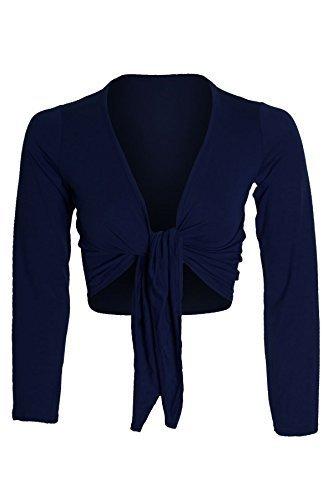Unbranded by Fantasia - Boléro Longues Manches Attaché Par Un Noeud Cardigan Femme 36-42 - S/M (36-38), Bleu marine