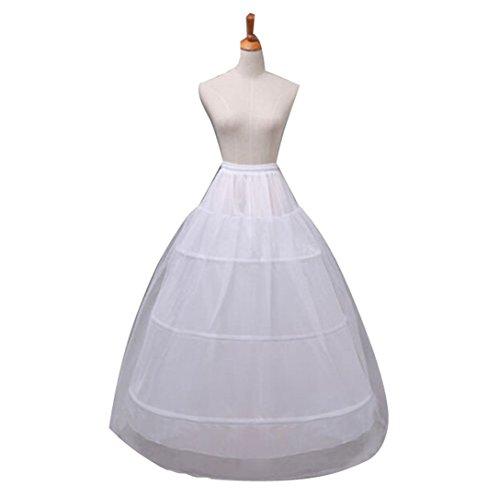 Organza Full Skirt (Zaaale Women Full A-Line 3 Hoop Floor-Length Bridal Dress Gown Slip Petticoat (White))