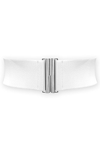 Black Butterfly 3 Inch Elastic Vertical Buckle Waist Belt (White, US 6 - 8)
