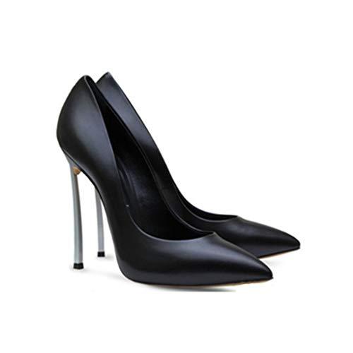 Banquet Pointé Escarpins Black Métal Soirée Talon Fermé Femmes Robe De Forme Bout Stiletto Soirée Chaussures Chaussures Plate Étanche En De 6tgCqdwCW