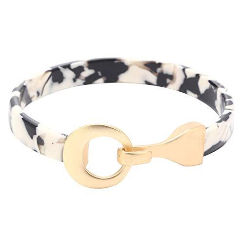 Eran Fashions Acrylic Bangle Bracelet Celluloid Acetate Round Mate Gold Metal Hook Resin Bracelet Bangle ()