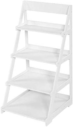GWFVA - Estantería de escalera, 4 niveles, madera y plástico, estante de almacenamiento de pared, estante inclinado, estante para plantas, estantería blanca, 44 x 43 x 85,8 cm: Amazon.es: Hogar