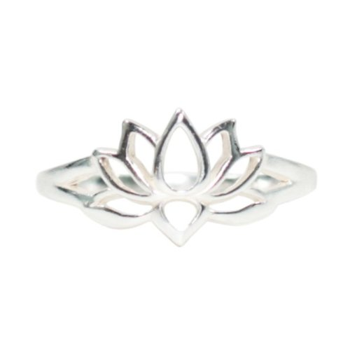 Buddhist Lotus Flower (Open Design Lotus Flower Ring in Sterling Silver, Size 6, #7226-6)