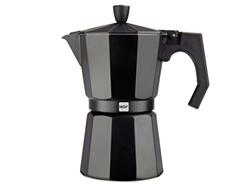 Magefesa 01PACFKEB09 Kenia Aluminum 9 Cups Coffee Maker, Black