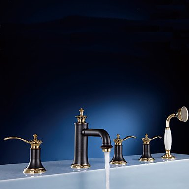 Three rose gold hands wide bathtub five hole , black+golden by FAUCET&YAMEIJIA