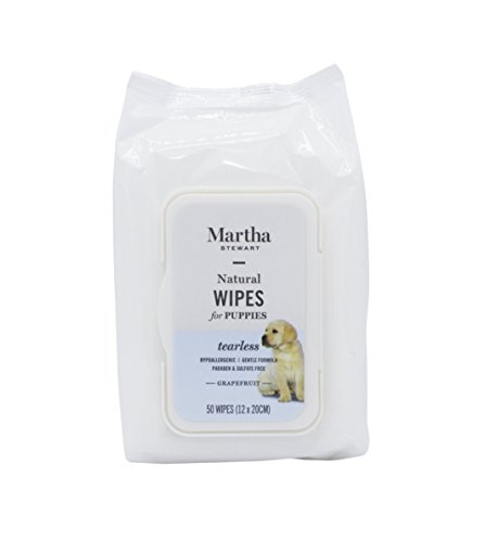 Martha Stewart Puppy Wipes in Grapefruit   Best Grooming Wipes for Puppies With Sensitive Skin, All Natural and Hypoallergenic, 50 (Natural Puppy Grooming Wipes)