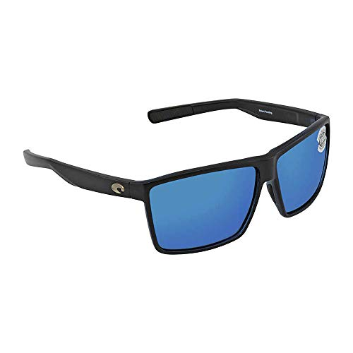Costa Del Mar Rincon Sunglasses Shiny Black/Blue Mirror ()
