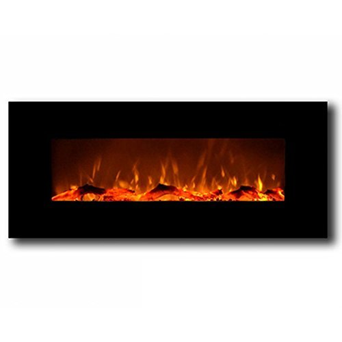 "Regal Flame Ashford Black 50"" Log Ventless Heater Electric Wall Mounted Fireplace Better Than Wood Fireplaces"