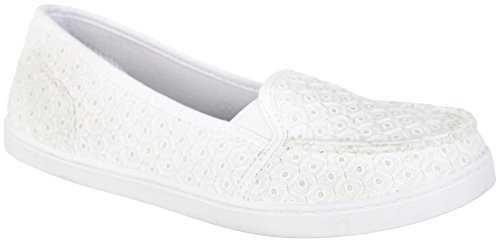 Corail Bay Femmes Ava Eyelet Toile Chaussures Blanc