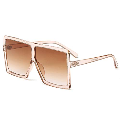 GRFISIA Square Oversized Sunglasses for Women Men Flat Top Fashion Shades (clear orange/tea lens, 2.56) ()
