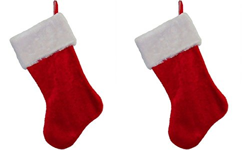 Classic Christnas Stockings Red & White Plush 18