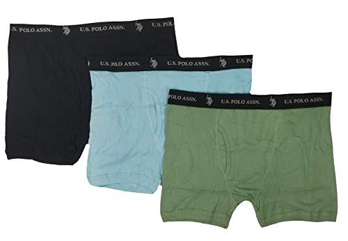 U.S. Polo Assn. Men's 3-Pack Cotton Boxer Brief (Black/Sky Blue/Aqua Green, X-Large)