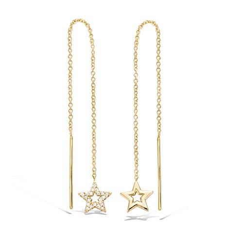 Agvana Yellow Gold Filled Bar&Star Threader Earrings Cubic Zirconia CZ Long Chain Dangle Earrings Gifts For Women, Threader earrings length: 5