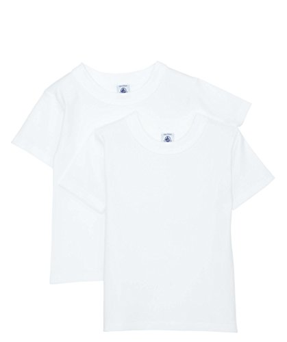 PETIT BATEAU SET OF 2 BOY'S SHORT SLEEVES WHITE UNDERSHIRT SIZES 2-18 STYLE 15043 (SIZE 6 STYLE ()